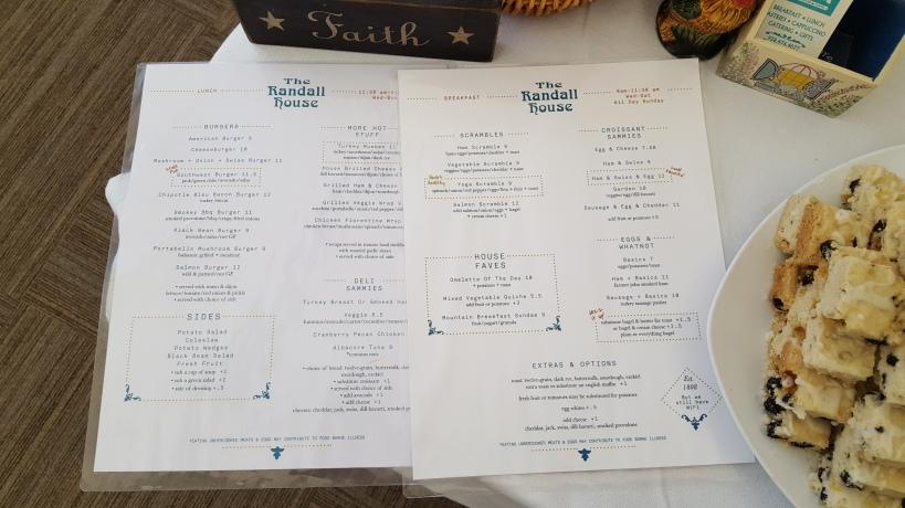 275 Randall House menu